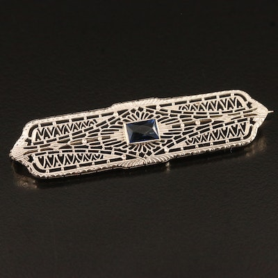 Edwardian 10K Filigree Brooch with Blue Glass Accent