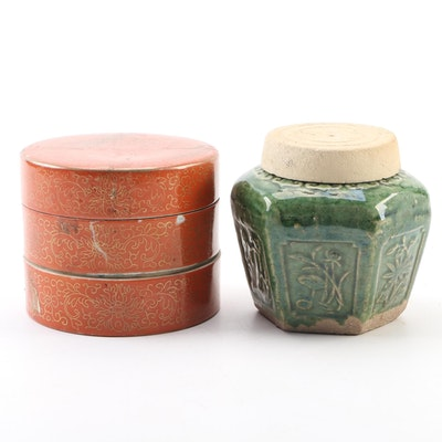 Chinese Porcelain Stacking Trinket Box with Green Glazed Ceramic Lidded Vessel