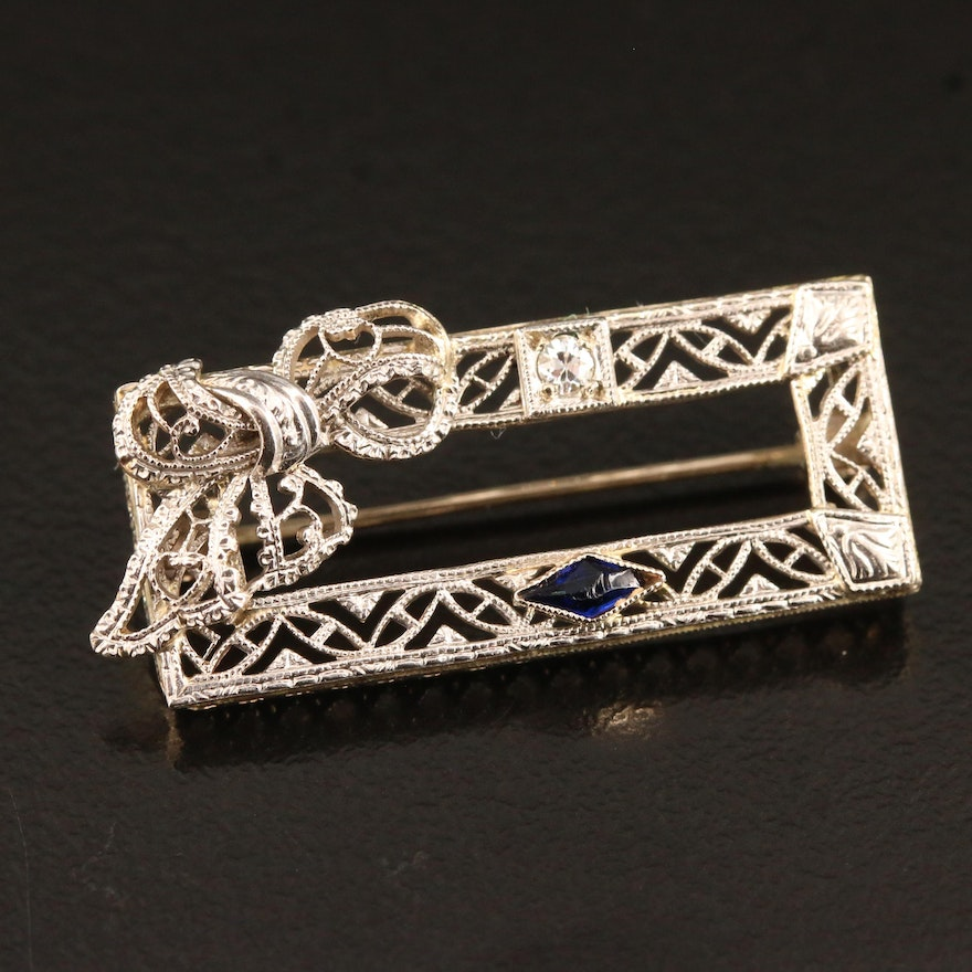 Edwardian 14K Diamond and Sapphire Brooch Frame Brooch with Platinum Accents