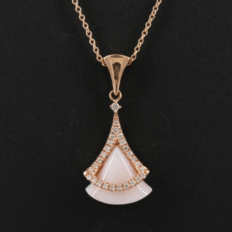 14K Rose Mother of Pearl and Diamond Pendant Necklace