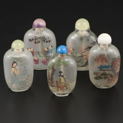 Chinese Hand-Painted Glass Snuff Bottles, Mid to Late 20th Century