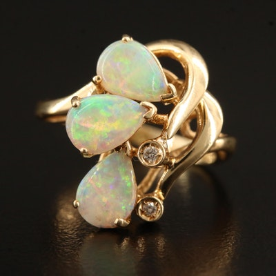 14K Opal and Diamond Cluster Ring
