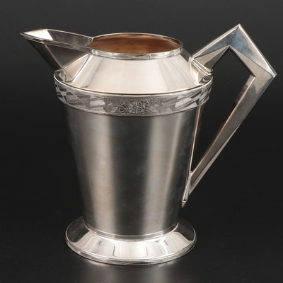 Art Deco Benedict Manufacturing Company Silver Plate Water Pitcher