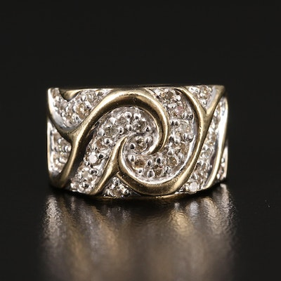 10K Diamond Swirl Ring