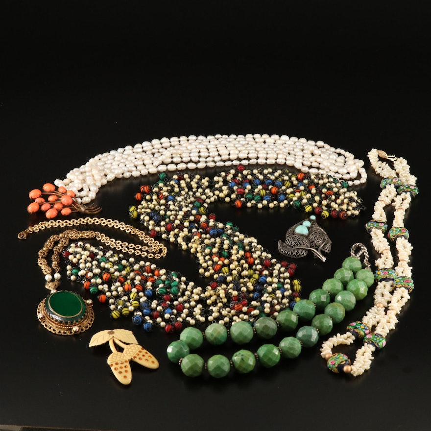 Assorted Jewelry Including Beaded Necklace with Sterling Silver Toggle Clasp
