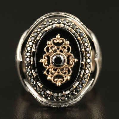 Sterling Black Onyx and Cubic Zirconia Signet Style Ring