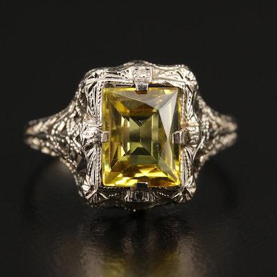 1930s 14K Sapphire Ring Featuring Wire Work Design