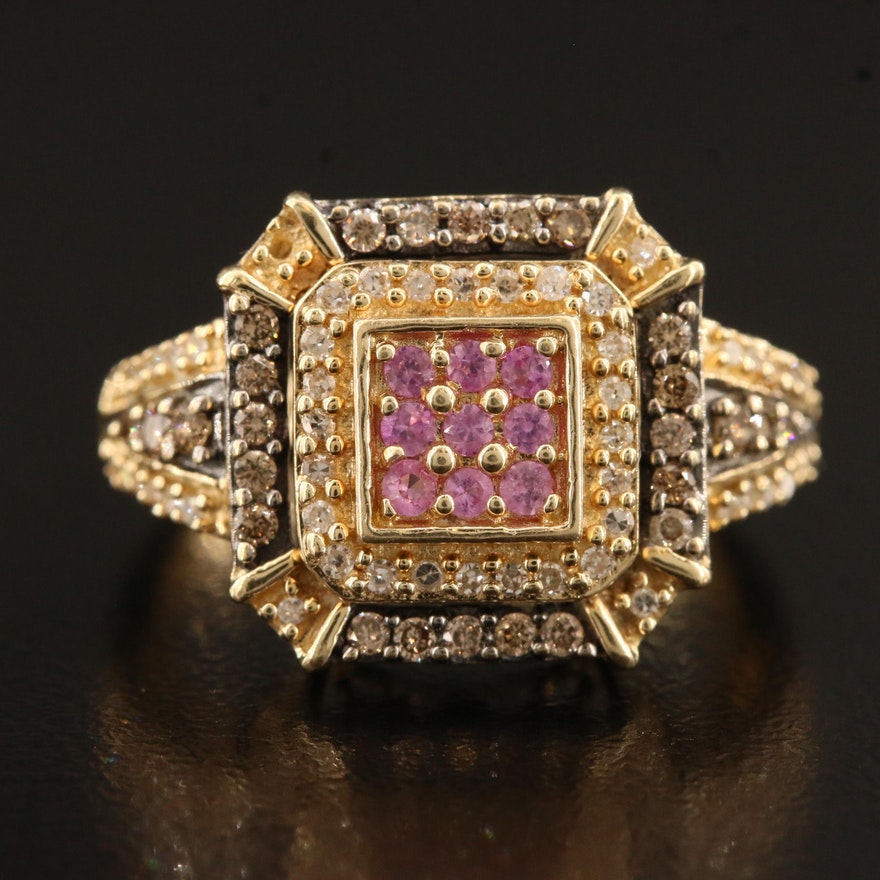 14K Pavé Sapphire and Diamond Ring
