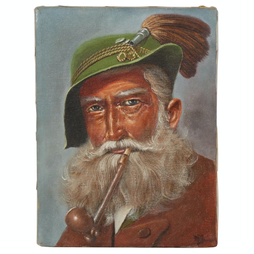 "Oil Painting ""Bergbaur Mountain Man"", 1980"