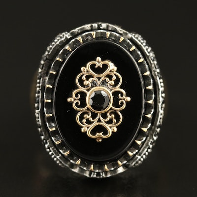 Sterling Black Onyx and Cubic Zirconia Ring