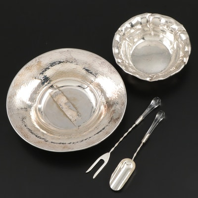 Italian and Other 800 Silver Bowls and Serving Utensils