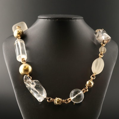 Stephen Dweck Citrine, Smoky Quartz and Rock Crystal Quartz Necklace