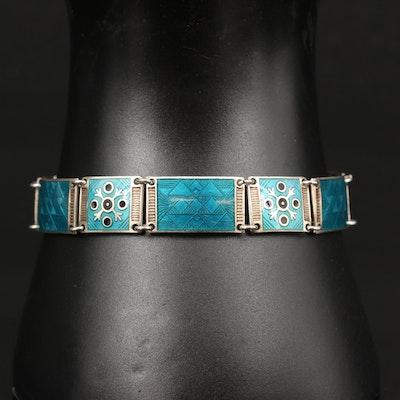 Vintage Bernard Meldahl Norwegian Sterling Silver Enamel Bracelet
