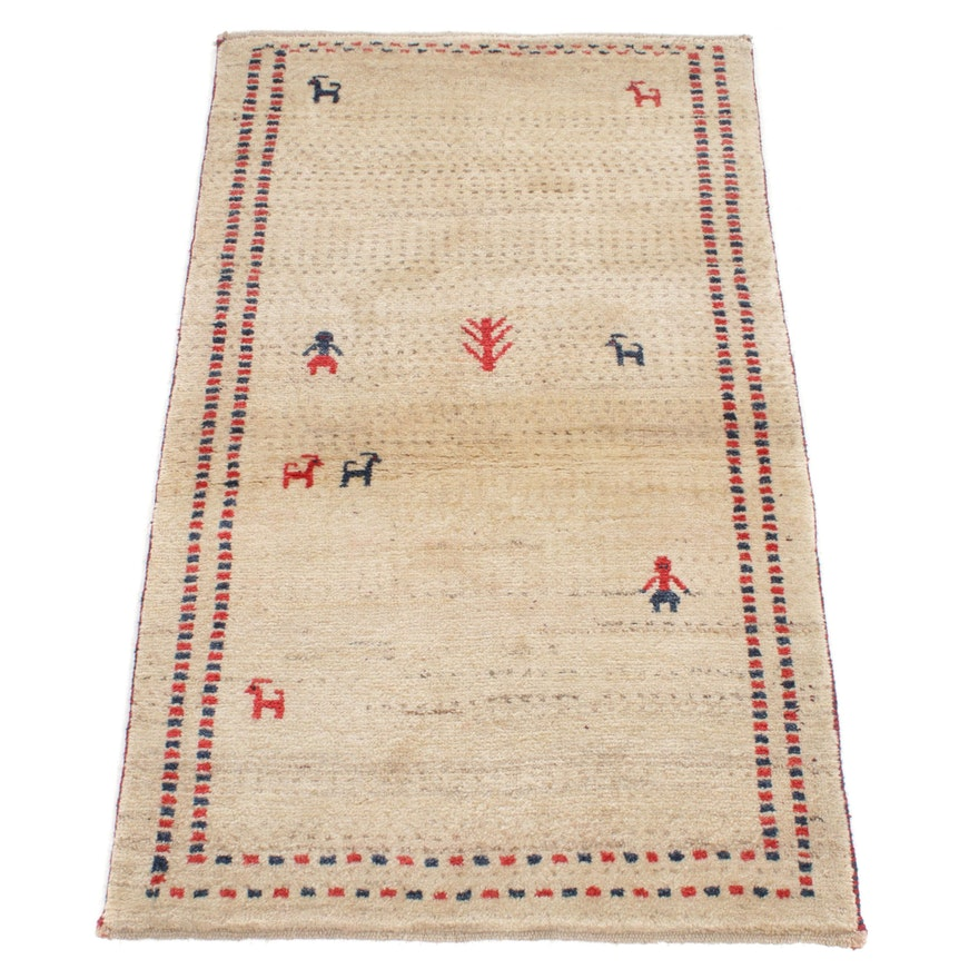 2'9 x 4'6 Hand-Knotted Persian Gabbeh Pictorial Rug, 1970s