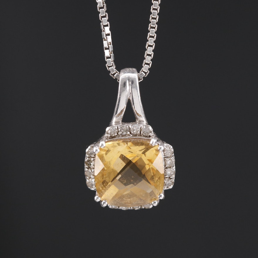Sterling Silver Citrine and Diamond Pendant Necklace