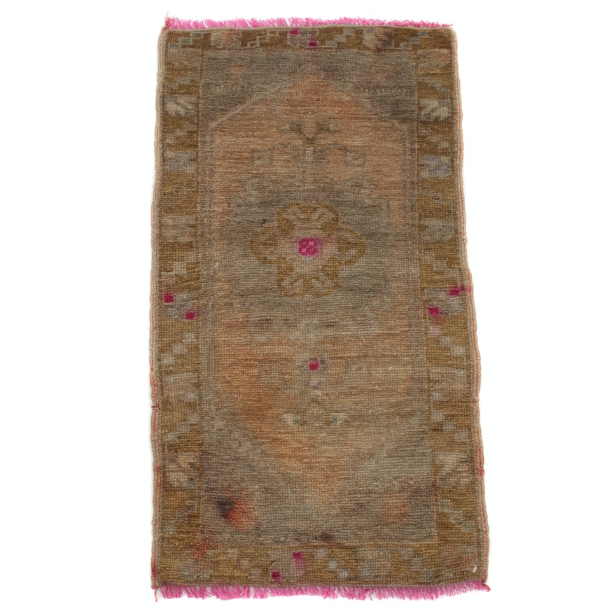 1'7 x 3'1 Hand-Knotted Turkish Oushak Village Rug, 1930s
