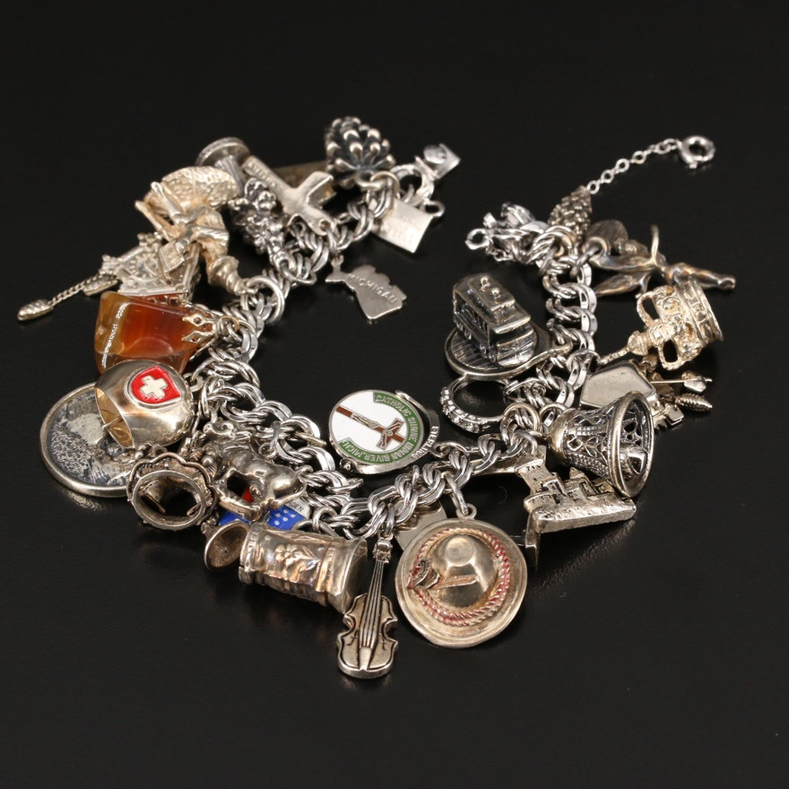 Vintage Travel Themed Charm Bracelet Featuring 800, 835 and Sterling Silver