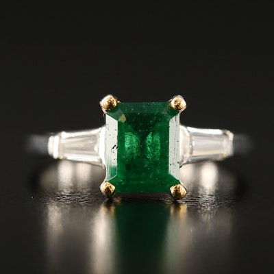 Platinum 1.47 CT Emerald and Diamond Ring