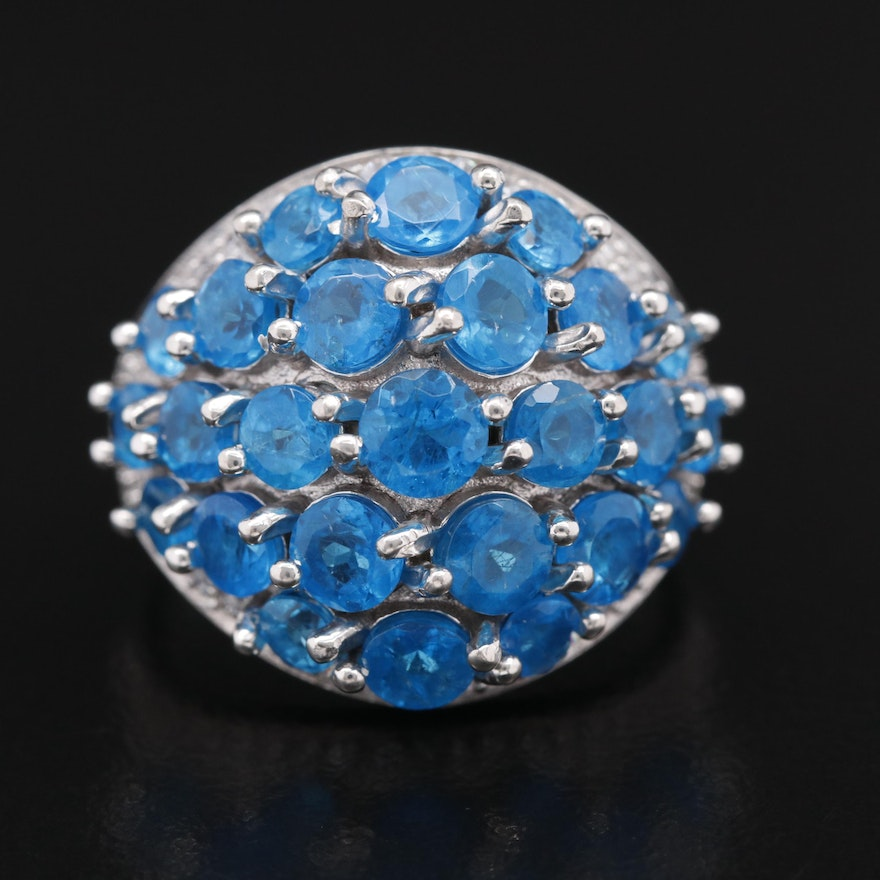 Sterling Silver Apatite and Cubic Zirconia Dome Ring