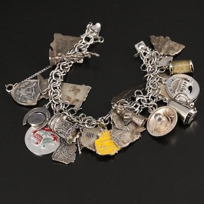 Vintage Sterling Silver United States Travel Themed Charm Bracelet