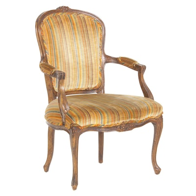 French Provincial Style Open Armchair, Mid to Late 20th Century