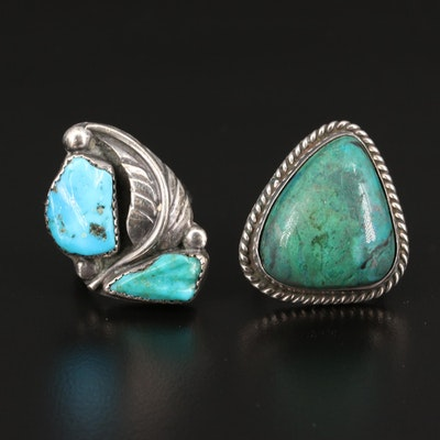 Southwestern Style Sterling Turquoise Rings Including Felicita Eustace