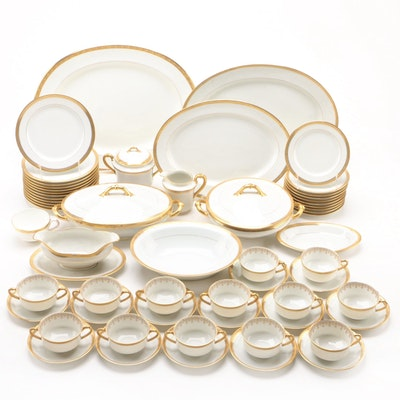 "Haviland & Co. ""Marquis"" and Cauldon Gilt Encrusted Porcelain Dinnerware"
