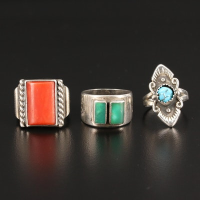 Western Sterling Silver Ring Assortment Featuring Bell Trading Post