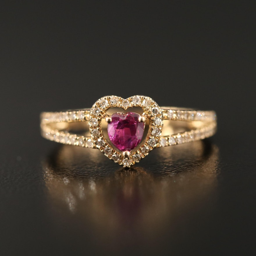 14K Ruby and Diamond Heart Ring with Split Shoulders