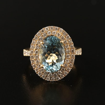 14K 3.60 CT Aquamarine and 1.19 CTW Diamond Ring