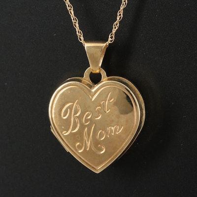 "14K ""Best Mom"" Heart Locket on Rope Link Chain"