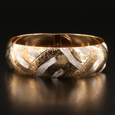 Michael Anthony 10K Two Tone Etched Bangle