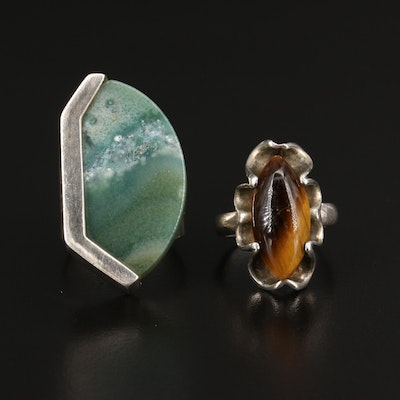 Sterling Silver Agate and Tiger's Eye Rings Featuring Desert Rose Trading Co.