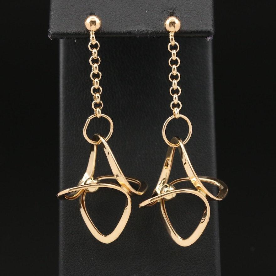 18K Geometric Drop Earrings