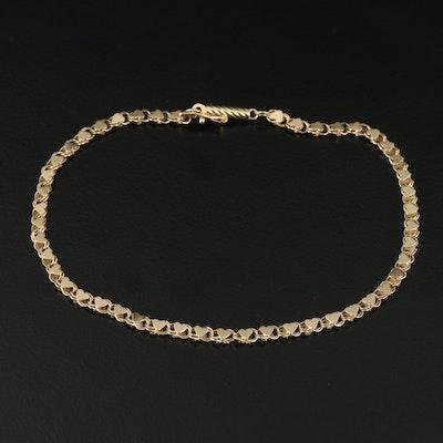 14K Heart Motif Link Bracelet