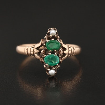 Victorian 10K Emerald and Seed Pearl Ring
