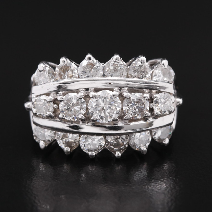 Vintage 14K 2.97 CTW Diamond Triple Row Ring