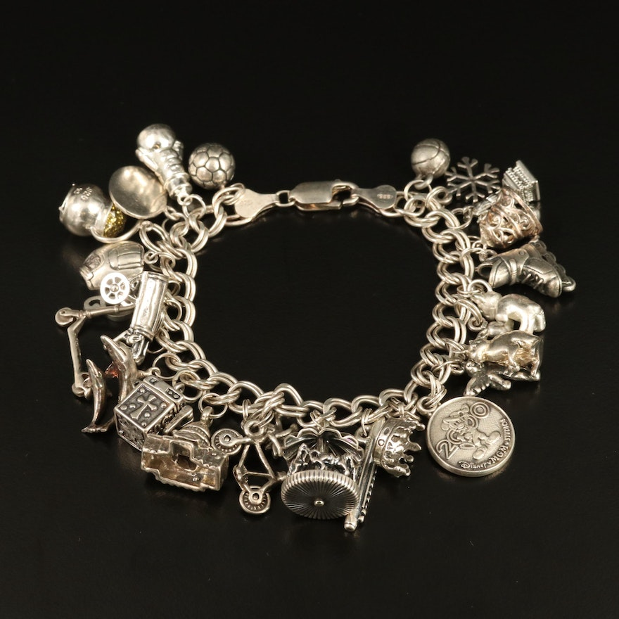 Vintage Sterling Silver Charm Bracelet Including Carousel and Disney Charms