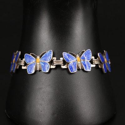 Vintage Sterling Silver Enameled Butterfly Link Bracelet