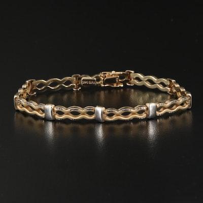 14K Crinkle Link Bracelet