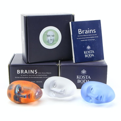 """Kosta Boda """"Brains"""" Glass Anti-Stress Objects"""