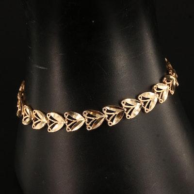 14K Foliate Motif Link Bracelet