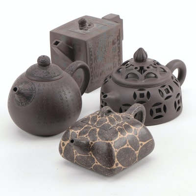 Chinese Yixing Ware Clay Teapots, Mid to Late 20th Century