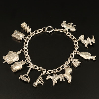 Vintage Sterling Charm Bracelet with Various Themed Charms