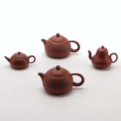 Chinese Red Clay Teapots with Braided Metal Wire Inlay and Others