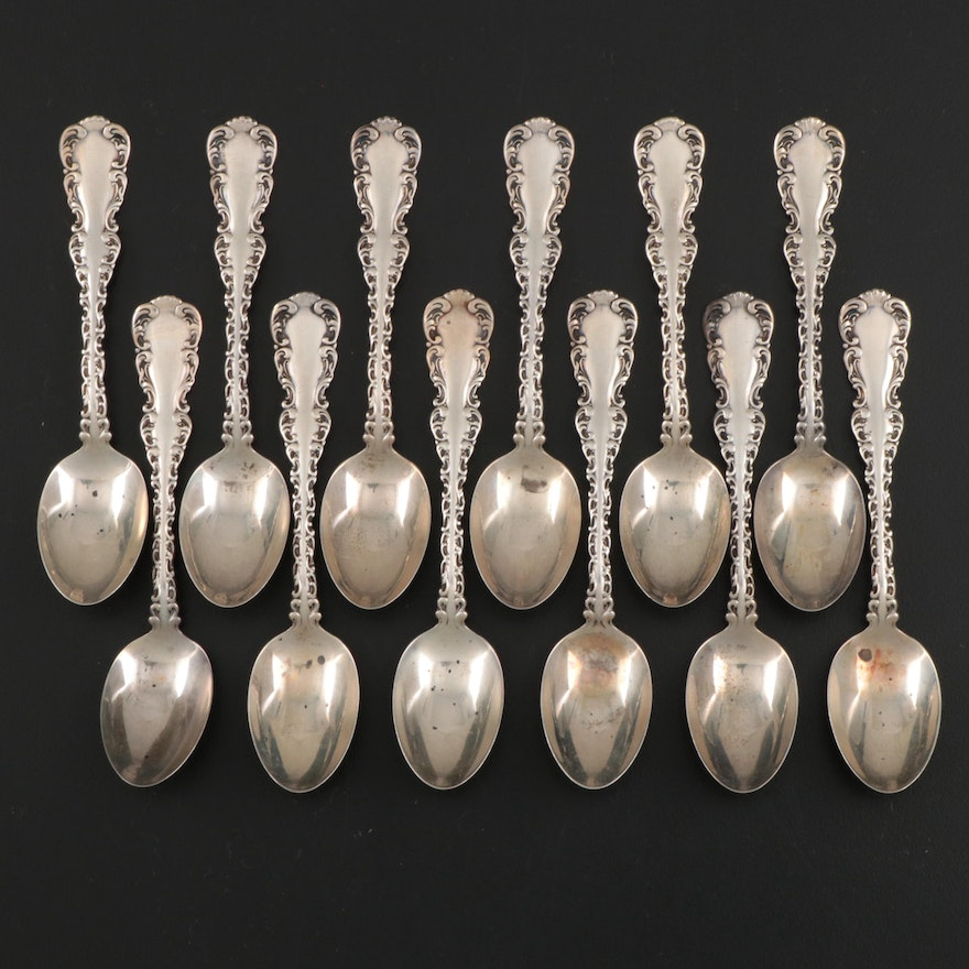 """Whiting Manufacturing Co. """"Louis XV"""" Sterling Silver Demitasse Spoons, 1891"""