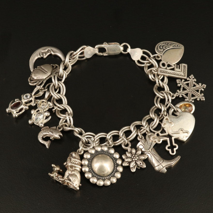 Vintage Sterling Silver Charm Bracelet with Cubic Zirconia Accents