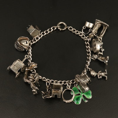 Vintage Sterling Charm Bracelet with Enamel and Rhinestone Accents