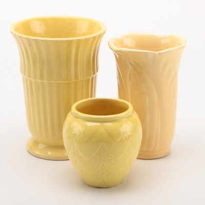 Yellow Glaze Ceramic Vases, Mid to Late 20th Century