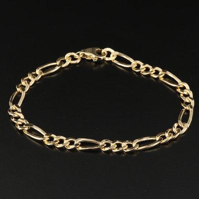 14K Figaro Link Bracelet with 18K Clasp